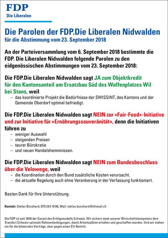 Abstimmungsparolen 23.09.2018